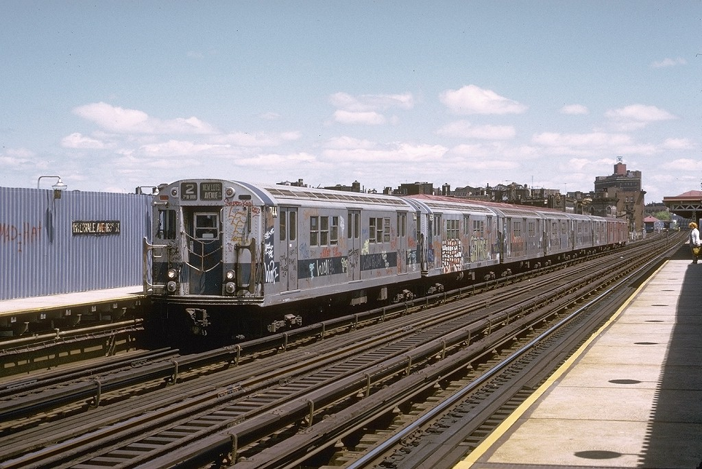 (230k, 1024x684)<br><b>Country:</b> United States<br><b>City:</b> New York<br><b>System:</b> New York City Transit<br><b>Line:</b> IRT White Plains Road Line<br><b>Location:</b> Intervale Avenue <br><b>Route:</b> 2<br><b>Car:</b> R-21 (St. Louis, 1956-57) 7144 <br><b>Photo by:</b> Joe Testagrose<br><b>Date:</b> 5/6/1973<br><b>Viewed (this week/total):</b> 4 / 3631