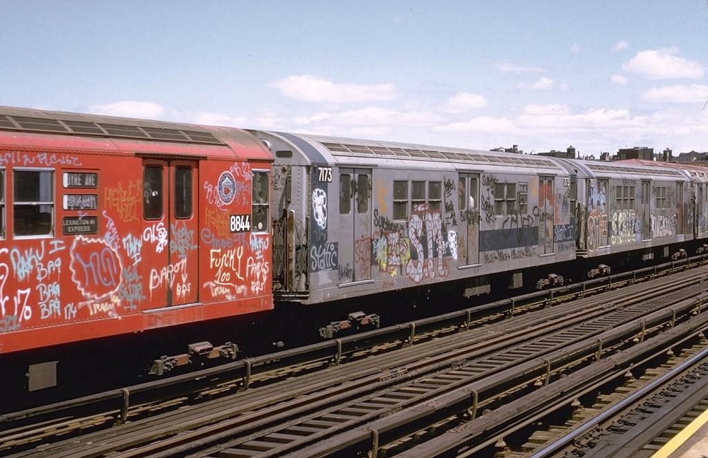 (217k, 1024x663)<br><b>Country:</b> United States<br><b>City:</b> New York<br><b>System:</b> New York City Transit<br><b>Line:</b> IRT White Plains Road Line<br><b>Location:</b> Intervale Avenue <br><b>Route:</b> 5<br><b>Car:</b> R-21 (St. Louis, 1956-57) 7173 <br><b>Photo by:</b> Joe Testagrose<br><b>Date:</b> 5/6/1973<br><b>Viewed (this week/total):</b> 0 / 3741