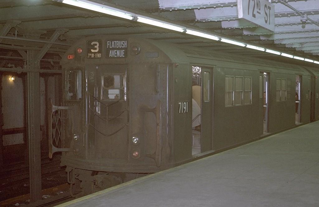 (165k, 1024x665)<br><b>Country:</b> United States<br><b>City:</b> New York<br><b>System:</b> New York City Transit<br><b>Line:</b> IRT West Side Line<br><b>Location:</b> 72nd Street <br><b>Route:</b> 3<br><b>Car:</b> R-21 (St. Louis, 1956-57) 7191 <br><b>Photo by:</b> Joe Testagrose<br><b>Date:</b> 1/30/1971<br><b>Viewed (this week/total):</b> 0 / 3121