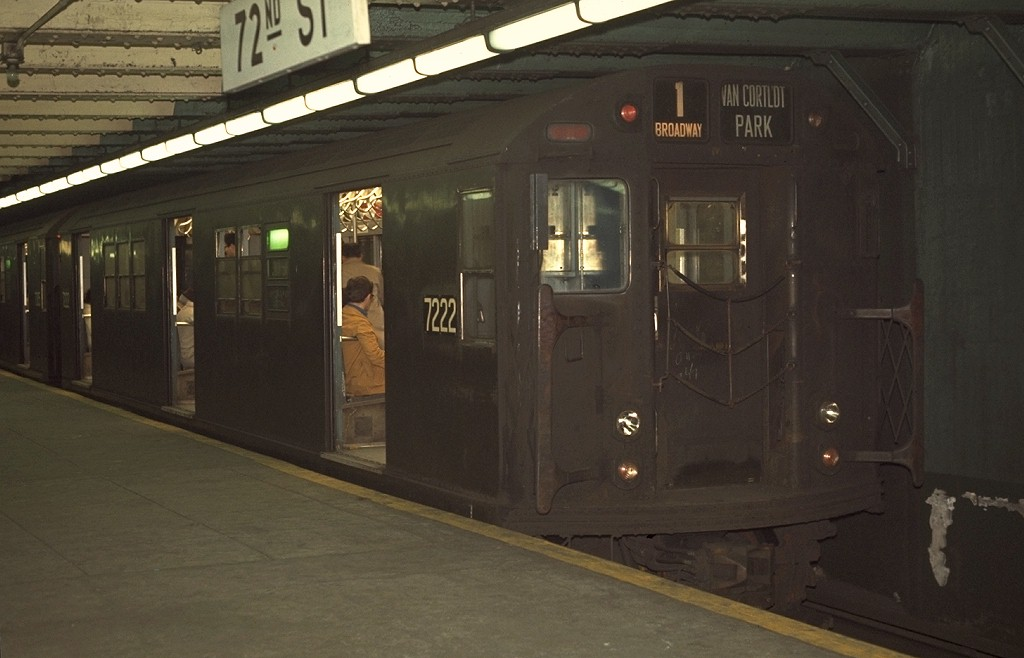 (134k, 1024x658)<br><b>Country:</b> United States<br><b>City:</b> New York<br><b>System:</b> New York City Transit<br><b>Line:</b> IRT West Side Line<br><b>Location:</b> 72nd Street <br><b>Route:</b> 1<br><b>Car:</b> R-21 (St. Louis, 1956-57) 7222 <br><b>Photo by:</b> Joe Testagrose<br><b>Date:</b> 4/9/1970<br><b>Viewed (this week/total):</b> 1 / 3187