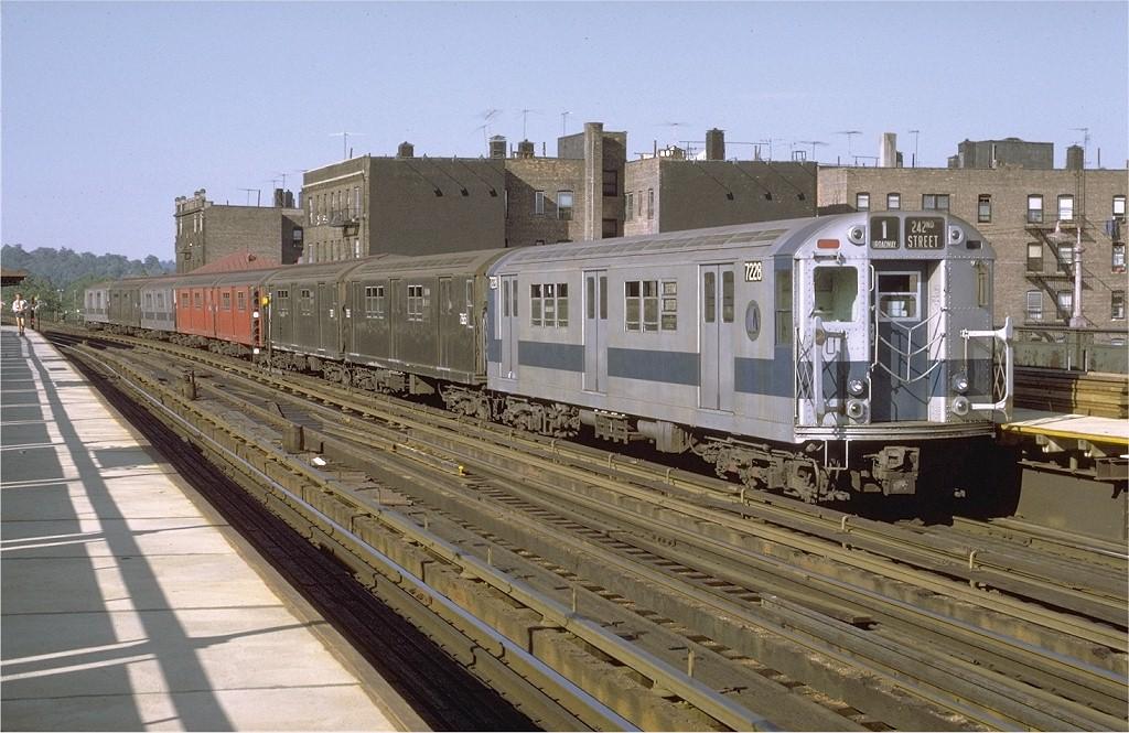 (212k, 1024x665)<br><b>Country:</b> United States<br><b>City:</b> New York<br><b>System:</b> New York City Transit<br><b>Line:</b> IRT West Side Line<br><b>Location:</b> 238th Street <br><b>Route:</b> 1<br><b>Car:</b> R-21 (St. Louis, 1956-57) 7228 <br><b>Photo by:</b> Joe Testagrose<br><b>Date:</b> 8/14/1971<br><b>Viewed (this week/total):</b> 2 / 2884