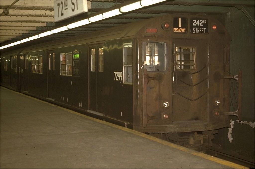 (142k, 1024x682)<br><b>Country:</b> United States<br><b>City:</b> New York<br><b>System:</b> New York City Transit<br><b>Line:</b> IRT West Side Line<br><b>Location:</b> 72nd Street <br><b>Route:</b> 1<br><b>Car:</b> R-21 (St. Louis, 1956-57) 7299 <br><b>Photo by:</b> Joe Testagrose<br><b>Date:</b> 5/2/1970<br><b>Viewed (this week/total):</b> 3 / 3066