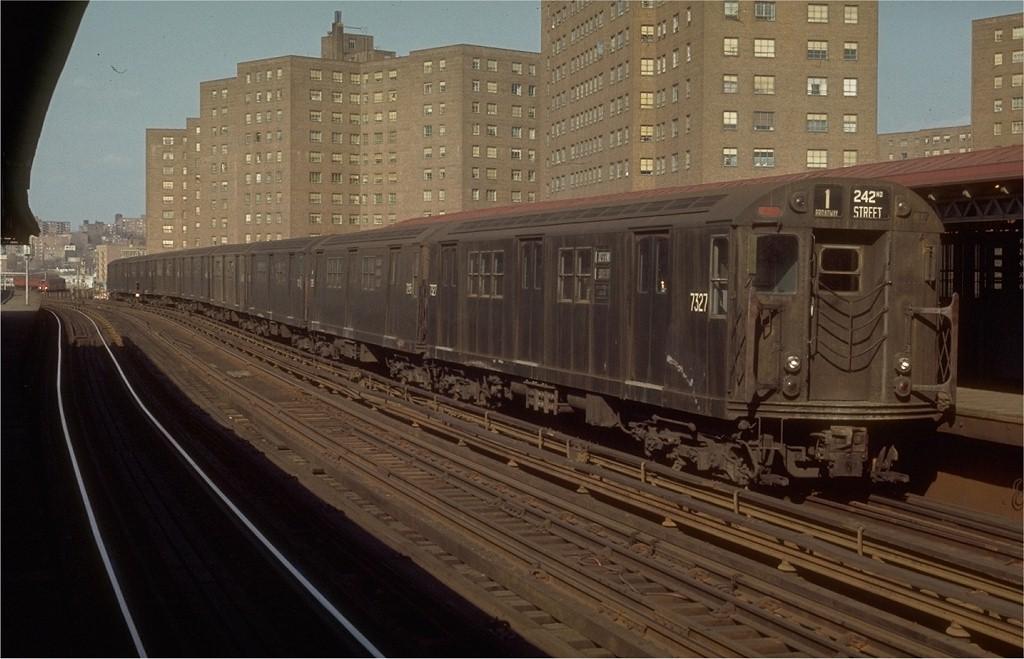 (173k, 1024x659)<br><b>Country:</b> United States<br><b>City:</b> New York<br><b>System:</b> New York City Transit<br><b>Line:</b> IRT West Side Line<br><b>Location:</b> 225th Street <br><b>Route:</b> 1<br><b>Car:</b> R-22 (St. Louis, 1957-58) 7327 <br><b>Photo by:</b> Joe Testagrose<br><b>Date:</b> 4/18/1970<br><b>Viewed (this week/total):</b> 0 / 3151