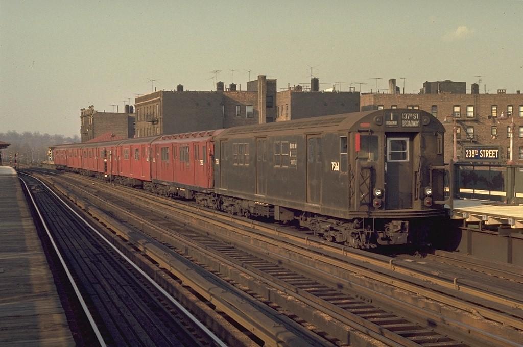 (182k, 1024x680)<br><b>Country:</b> United States<br><b>City:</b> New York<br><b>System:</b> New York City Transit<br><b>Line:</b> IRT West Side Line<br><b>Location:</b> 238th Street <br><b>Route:</b> 1<br><b>Car:</b> R-22 (St. Louis, 1957-58) 7361 <br><b>Photo by:</b> Joe Testagrose<br><b>Date:</b> 4/26/1970<br><b>Viewed (this week/total):</b> 0 / 2711