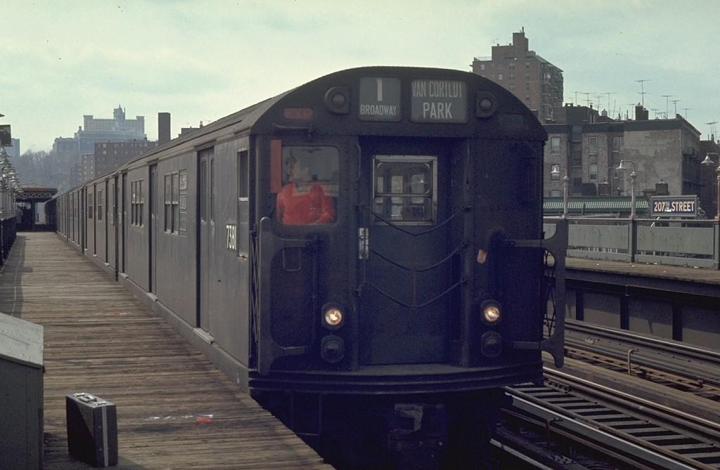 (163k, 1024x669)<br><b>Country:</b> United States<br><b>City:</b> New York<br><b>System:</b> New York City Transit<br><b>Line:</b> IRT West Side Line<br><b>Location:</b> 207th Street <br><b>Route:</b> 1<br><b>Car:</b> R-22 (St. Louis, 1957-58) 7381 <br><b>Photo by:</b> Joe Testagrose<br><b>Date:</b> 4/4/1970<br><b>Viewed (this week/total):</b> 0 / 3856