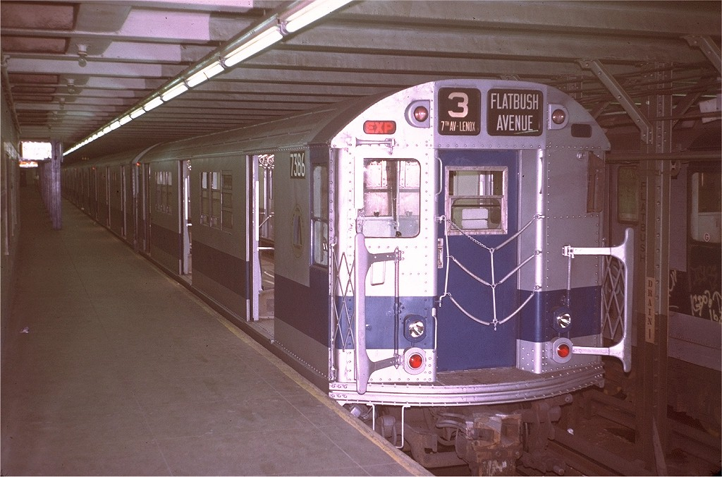 (193k, 1024x676)<br><b>Country:</b> United States<br><b>City:</b> New York<br><b>System:</b> New York City Transit<br><b>Line:</b> IRT Brooklyn Line<br><b>Location:</b> Flatbush Avenue <br><b>Route:</b> 3<br><b>Car:</b> R-22 (St. Louis, 1957-58) 7386 <br><b>Photo by:</b> Steve Zabel<br><b>Collection of:</b> Joe Testagrose<br><b>Date:</b> 8/6/1972<br><b>Viewed (this week/total):</b> 0 / 4821