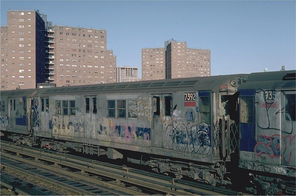 (237k, 1024x681)<br><b>Country:</b> United States<br><b>City:</b> New York<br><b>System:</b> New York City Transit<br><b>Line:</b> IRT West Side Line<br><b>Location:</b> 125th Street <br><b>Route:</b> 1<br><b>Car:</b> R-22 (St. Louis, 1957-58) 7392 <br><b>Photo by:</b> Steve Zabel<br><b>Collection of:</b> Joe Testagrose<br><b>Date:</b> 2/25/1982<br><b>Viewed (this week/total):</b> 4 / 5118