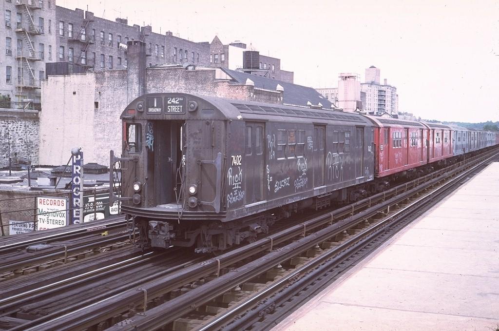 (215k, 1024x679)<br><b>Country:</b> United States<br><b>City:</b> New York<br><b>System:</b> New York City Transit<br><b>Line:</b> IRT West Side Line<br><b>Location:</b> 231st Street <br><b>Route:</b> 1<br><b>Car:</b> R-22 (St. Louis, 1957-58) 7402 <br><b>Photo by:</b> Steve Zabel<br><b>Collection of:</b> Joe Testagrose<br><b>Date:</b> 7/30/1972<br><b>Viewed (this week/total):</b> 2 / 4910
