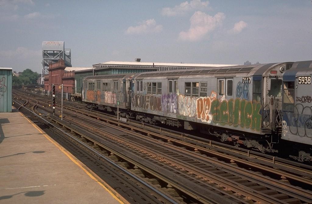 (188k, 1024x669)<br><b>Country:</b> United States<br><b>City:</b> New York<br><b>System:</b> New York City Transit<br><b>Line:</b> IRT West Side Line<br><b>Location:</b> 215th Street <br><b>Route:</b> 1<br><b>Car:</b> R-22 (St. Louis, 1957-58) 7447 <br><b>Photo by:</b> Steve Zabel<br><b>Collection of:</b> Joe Testagrose<br><b>Date:</b> 6/2/1977<br><b>Viewed (this week/total):</b> 2 / 4424