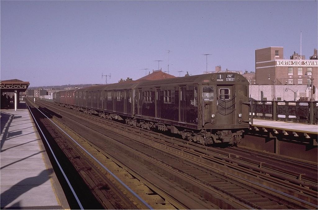 (212k, 1024x676)<br><b>Country:</b> United States<br><b>City:</b> New York<br><b>System:</b> New York City Transit<br><b>Line:</b> IRT West Side Line<br><b>Location:</b> 231st Street <br><b>Route:</b> 1<br><b>Car:</b> R-22 (St. Louis, 1957-58) 7466 <br><b>Photo by:</b> Joe Testagrose<br><b>Date:</b> 11/21/1970<br><b>Viewed (this week/total):</b> 11 / 3554