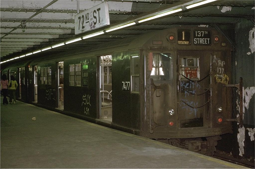 (243k, 1024x680)<br><b>Country:</b> United States<br><b>City:</b> New York<br><b>System:</b> New York City Transit<br><b>Line:</b> IRT West Side Line<br><b>Location:</b> 72nd Street <br><b>Route:</b> 1<br><b>Car:</b> R-22 (St. Louis, 1957-58) 7477 <br><b>Photo by:</b> Joe Testagrose<br><b>Date:</b> 5/22/1972<br><b>Viewed (this week/total):</b> 0 / 3695