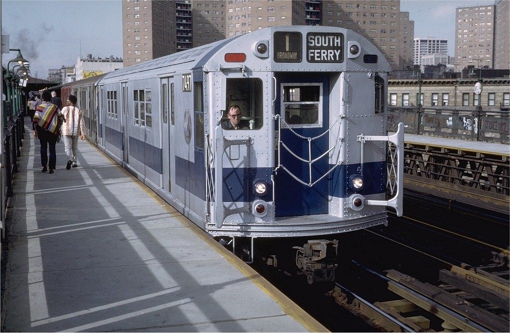(214k, 1024x668)<br><b>Country:</b> United States<br><b>City:</b> New York<br><b>System:</b> New York City Transit<br><b>Line:</b> IRT West Side Line<br><b>Location:</b> 125th Street <br><b>Route:</b> 1<br><b>Car:</b> R-22 (St. Louis, 1957-58) 7497 <br><b>Photo by:</b> Doug Grotjahn<br><b>Collection of:</b> Joe Testagrose<br><b>Date:</b> 5/21/1972<br><b>Viewed (this week/total):</b> 2 / 3598