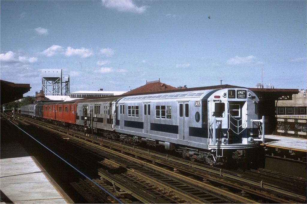 (225k, 1024x682)<br><b>Country:</b> United States<br><b>City:</b> New York<br><b>System:</b> New York City Transit<br><b>Line:</b> IRT West Side Line<br><b>Location:</b> 215th Street <br><b>Route:</b> 1<br><b>Car:</b> R-22 (St. Louis, 1957-58) 7497 <br><b>Photo by:</b> Steve Zabel<br><b>Collection of:</b> Joe Testagrose<br><b>Date:</b> 5/21/1972<br><b>Viewed (this week/total):</b> 2 / 3593