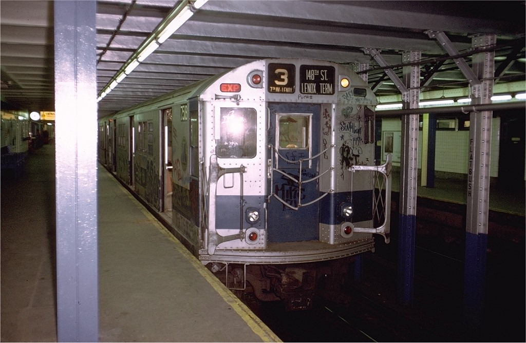 (186k, 1024x668)<br><b>Country:</b> United States<br><b>City:</b> New York<br><b>System:</b> New York City Transit<br><b>Line:</b> IRT Brooklyn Line<br><b>Location:</b> Flatbush Avenue <br><b>Route:</b> 3<br><b>Car:</b> R-22 (St. Louis, 1957-58) 7518 <br><b>Photo by:</b> Doug Grotjahn<br><b>Collection of:</b> Joe Testagrose<br><b>Date:</b> 5/6/1973<br><b>Viewed (this week/total):</b> 1 / 4864