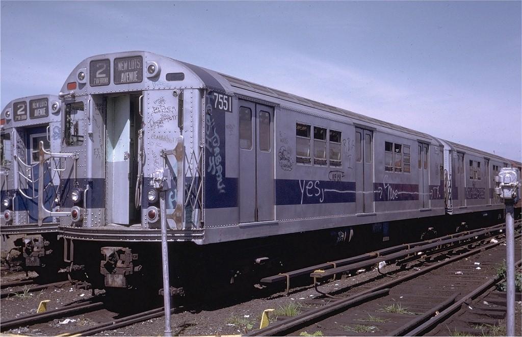 (199k, 1024x661)<br><b>Country:</b> United States<br><b>City:</b> New York<br><b>System:</b> New York City Transit<br><b>Location:</b> Livonia Yard<br><b>Car:</b> R-22 (St. Louis, 1957-58) 7551 <br><b>Photo by:</b> Steve Zabel<br><b>Collection of:</b> Joe Testagrose<br><b>Date:</b> 8/6/1972<br><b>Viewed (this week/total):</b> 7 / 7683