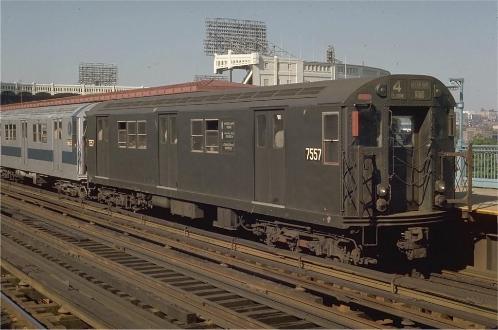 (187k, 1024x678)<br><b>Country:</b> United States<br><b>City:</b> New York<br><b>System:</b> New York City Transit<br><b>Line:</b> IRT Woodlawn Line<br><b>Location:</b> 161st Street/River Avenue (Yankee Stadium) <br><b>Route:</b> 4<br><b>Car:</b> R-22 (St. Louis, 1957-58) 7557 <br><b>Photo by:</b> Joe Testagrose<br><b>Date:</b> 5/27/1970<br><b>Viewed (this week/total):</b> 3 / 3400