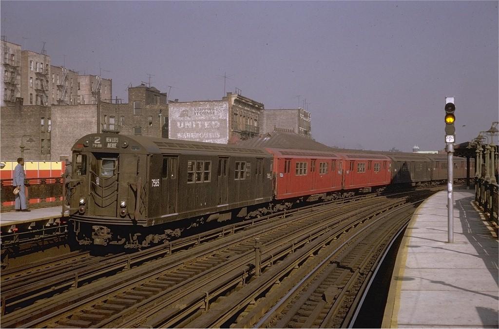 (202k, 1024x675)<br><b>Country:</b> United States<br><b>City:</b> New York<br><b>System:</b> New York City Transit<br><b>Line:</b> IRT White Plains Road Line<br><b>Location:</b> 174th Street <br><b>Route:</b> 2<br><b>Car:</b> R-22 (St. Louis, 1957-58) 7565 <br><b>Photo by:</b> Steve Zabel<br><b>Collection of:</b> Joe Testagrose<br><b>Date:</b> 10/26/1969<br><b>Viewed (this week/total):</b> 1 / 3183