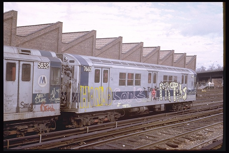 (136k, 768x512)<br><b>Country:</b> United States<br><b>City:</b> New York<br><b>System:</b> New York City Transit<br><b>Location:</b> East 180th Street Yard<br><b>Car:</b> R-22 (St. Louis, 1957-58) 7660 <br><b>Photo by:</b> Steve Zabel<br><b>Collection of:</b> Joe Testagrose<br><b>Date:</b> 2/3/1973<br><b>Viewed (this week/total):</b> 5 / 3101