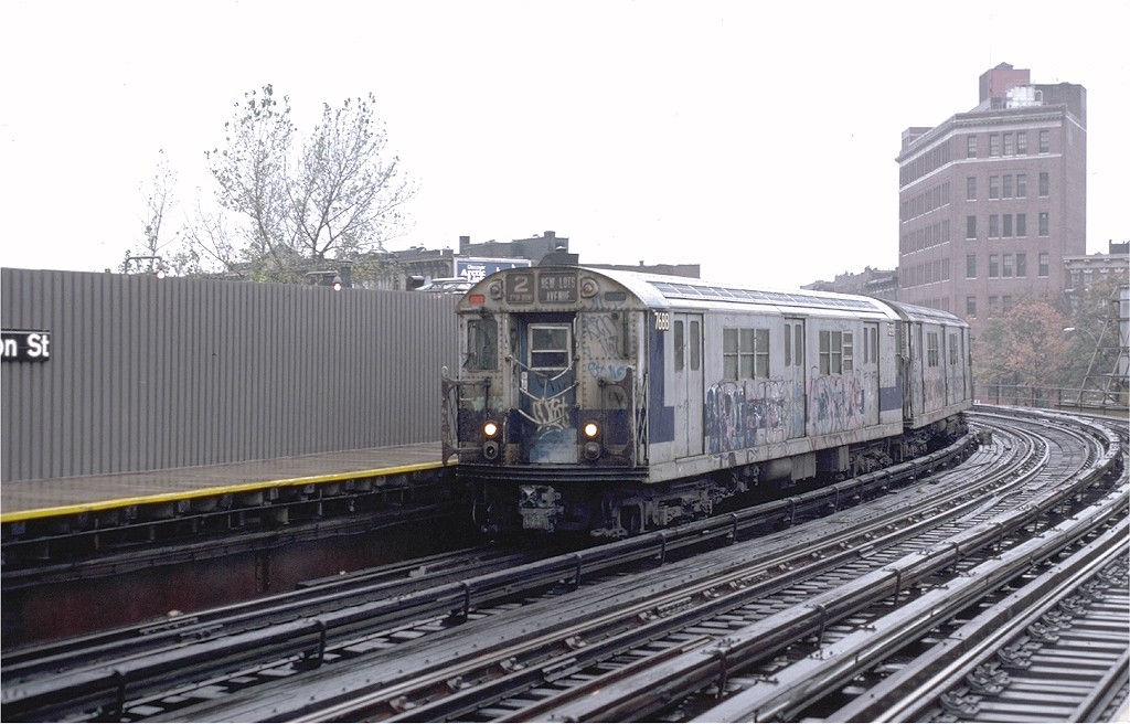 (178k, 1024x656)<br><b>Country:</b> United States<br><b>City:</b> New York<br><b>System:</b> New York City Transit<br><b>Line:</b> IRT White Plains Road Line<br><b>Location:</b> Simpson Street <br><b>Route:</b> 2<br><b>Car:</b> R-22 (St. Louis, 1957-58) 7688 <br><b>Photo by:</b> Steve Zabel<br><b>Collection of:</b> Joe Testagrose<br><b>Date:</b> 11/3/1979<br><b>Viewed (this week/total):</b> 0 / 5067