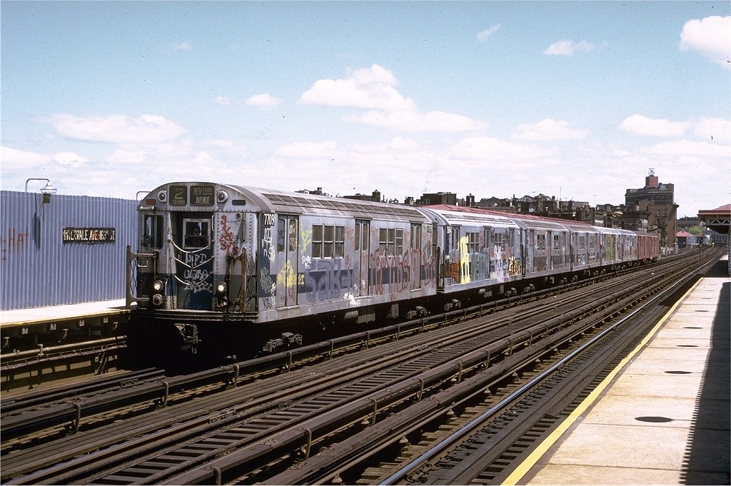 (240k, 1024x681)<br><b>Country:</b> United States<br><b>City:</b> New York<br><b>System:</b> New York City Transit<br><b>Line:</b> IRT White Plains Road Line<br><b>Location:</b> Intervale Avenue <br><b>Route:</b> 2<br><b>Car:</b> R-22 (St. Louis, 1957-58) 7709 <br><b>Photo by:</b> Joe Testagrose<br><b>Date:</b> 5/6/1973<br><b>Viewed (this week/total):</b> 1 / 3474