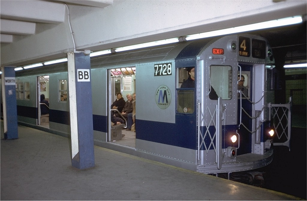 (164k, 1024x670)<br><b>Country:</b> United States<br><b>City:</b> New York<br><b>System:</b> New York City Transit<br><b>Line:</b> IRT East Side Line<br><b>Location:</b> Brooklyn Bridge/City Hall <br><b>Route:</b> 4<br><b>Car:</b> R-22 (St. Louis, 1957-58) 7728 <br><b>Photo by:</b> Doug Grotjahn<br><b>Collection of:</b> Joe Testagrose<br><b>Date:</b> 2/4/1972<br><b>Viewed (this week/total):</b> 0 / 4789