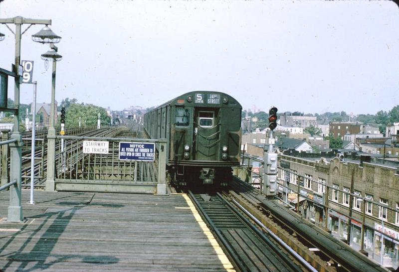 (77k, 800x546)<br><b>Country:</b> United States<br><b>City:</b> New York<br><b>System:</b> New York City Transit<br><b>Line:</b> IRT White Plains Road Line<br><b>Location:</b> Gun Hill Road <br><b>Car:</b> R-21/R-22 Series (Number Unknown)  <br><b>Photo by:</b> Bob Fried<br><b>Date:</b> 8/1964<br><b>Viewed (this week/total):</b> 2 / 5984