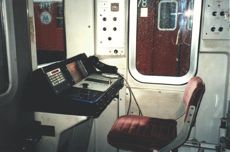 (67k, 750x497)<br><b>Country:</b> United States<br><b>City:</b> New York<br><b>System:</b> New York City Transit<br><b>Car:</b> R-110A (Kawasaki, 1992) Interior <br><b>Photo by:</b> Steve Kreisler<br><b>Date:</b> 1997<br><b>Notes:</b> Train operators console<br><b>Viewed (this week/total):</b> 3 / 7568