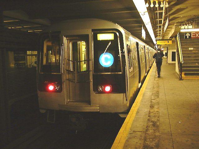 (65k, 640x480)<br><b>Country:</b> United States<br><b>City:</b> New York<br><b>System:</b> New York City Transit<br><b>Line:</b> IND 8th Avenue Line<br><b>Location:</b> 168th Street <br><b>Route:</b> C<br><b>Car:</b> R-110B (Bombardier, 1992) 3001 <br><b>Photo by:</b> Trevor Logan<br><b>Date:</b> 9/2000<br><b>Viewed (this week/total):</b> 0 / 17211