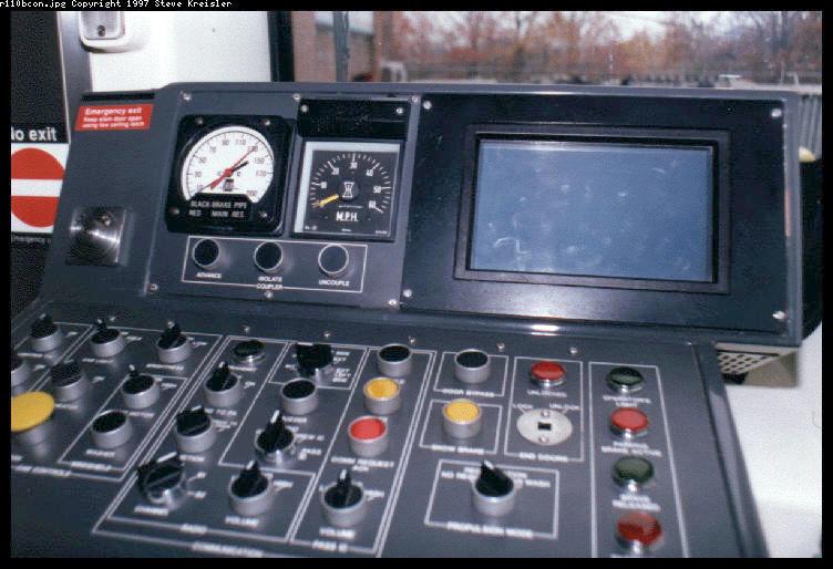 (72k, 752x514)<br><b>Country:</b> United States<br><b>City:</b> New York<br><b>System:</b> New York City Transit<br><b>Car:</b> R-110B (Bombardier, 1992) Interior <br><b>Photo by:</b> Steve Kreisler<br><b>Date:</b> 1997<br><b>Notes:</b> Operator Console<br><b>Viewed (this week/total):</b> 1 / 7525