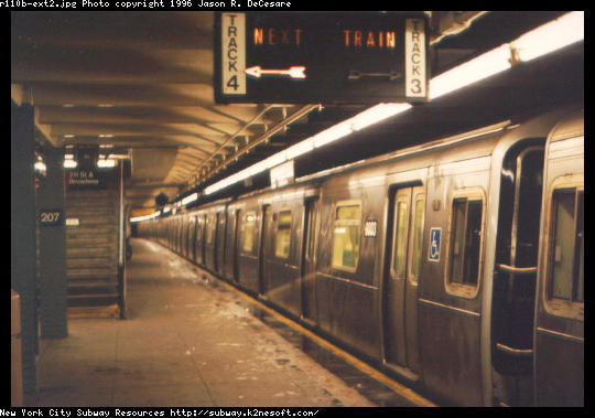 (42k, 540x379)<br><b>Country:</b> United States<br><b>City:</b> New York<br><b>System:</b> New York City Transit<br><b>Line:</b> IND 8th Avenue Line<br><b>Location:</b> 207th Street <br><b>Route:</b> A<br><b>Car:</b> R-110B (Bombardier, 1992) 3003 <br><b>Photo by:</b> Jason R. DeCesare<br><b>Date:</b> 1997<br><b>Notes:</b> Side View<br><b>Viewed (this week/total):</b> 7 / 9379