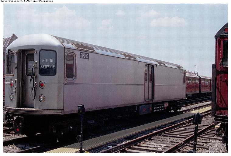 (67k, 760x514)<br><b>Country:</b> United States<br><b>City:</b> New York<br><b>System:</b> New York City Transit<br><b>Location:</b> Corona Yard<br><b>Car:</b> R-127/R-134 (Kawasaki, 1991-1996) EP013 <br><b>Photo by:</b> Paul Polischuk<br><b>Date:</b> 6/25/1999<br><b>Viewed (this week/total):</b> 1 / 4669
