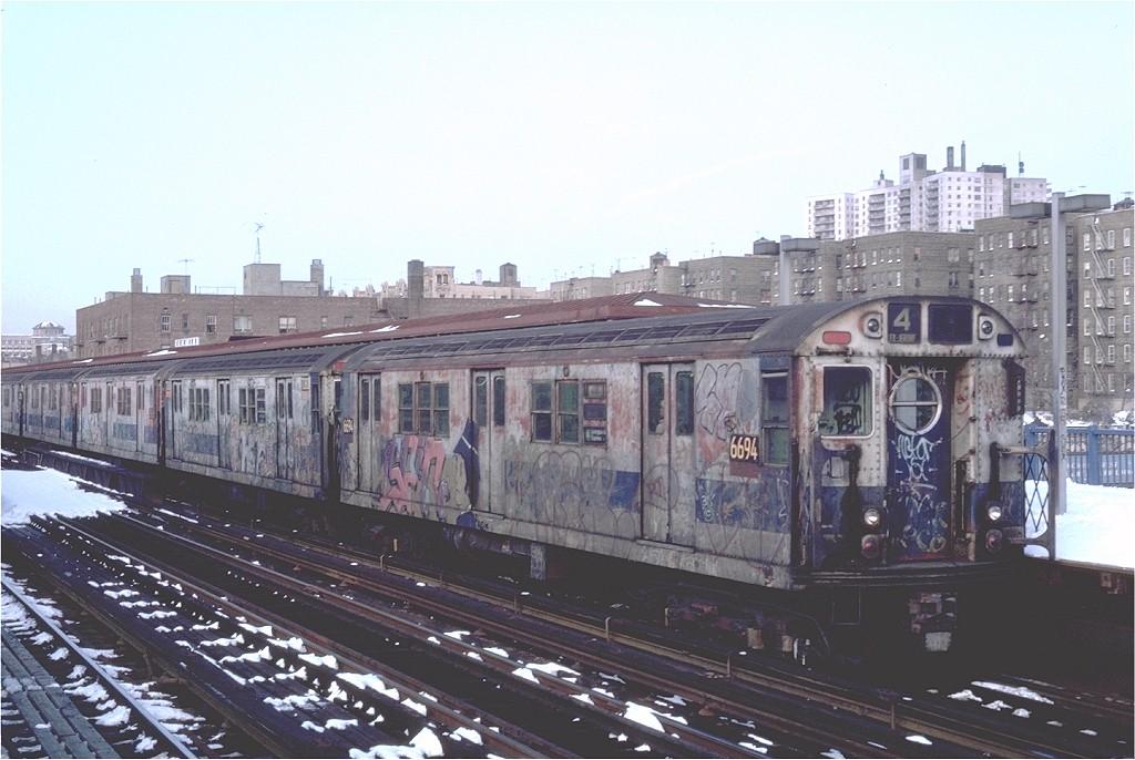 (183k, 1024x686)<br><b>Country:</b> United States<br><b>City:</b> New York<br><b>System:</b> New York City Transit<br><b>Line:</b> IRT Woodlawn Line<br><b>Location:</b> 161st Street/River Avenue (Yankee Stadium) <br><b>Route:</b> 4<br><b>Car:</b> R-17 (St. Louis, 1955-56) 6694 <br><b>Photo by:</b> Steve Zabel<br><b>Collection of:</b> Joe Testagrose<br><b>Date:</b> 2/12/1983<br><b>Viewed (this week/total):</b> 2 / 5530
