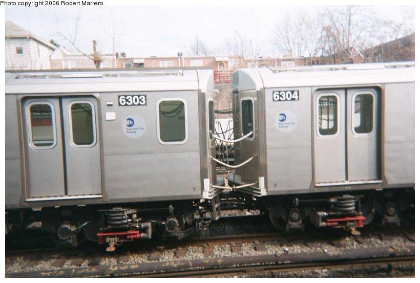 (79k, 820x553)<br><b>Country:</b> United States<br><b>City:</b> New York<br><b>System:</b> New York City Transit<br><b>Line:</b> IRT Dyre Ave. Line<br><b>Location:</b> Gun Hill Road <br><b>Car:</b> R-142 (Primary Order, Bombardier, 1999-2002)  6303 <br><b>Photo by:</b> Robert Marrero<br><b>Viewed (this week/total):</b> 5 / 8420