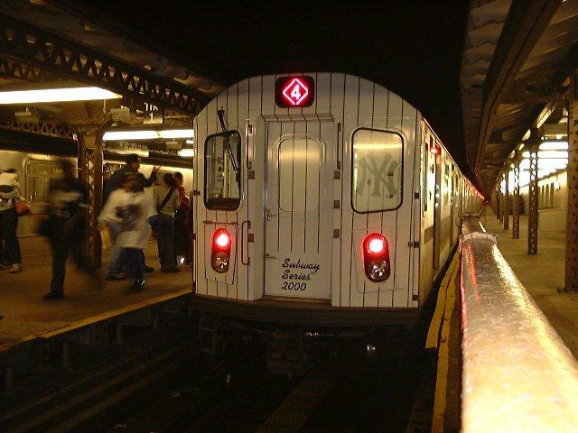 (71k, 640x480)<br><b>Country:</b> United States<br><b>City:</b> New York<br><b>System:</b> New York City Transit<br><b>Line:</b> IRT Woodlawn Line<br><b>Location:</b> Woodlawn <br><b>Car:</b> R-142 (Primary Order, Bombardier, 1999-2002)  6310 <br><b>Photo by:</b> Trevor Logan<br><b>Date:</b> 10/21/2000<br><b>Notes:</b> World Series Special<br><b>Viewed (this week/total):</b> 1 / 15024