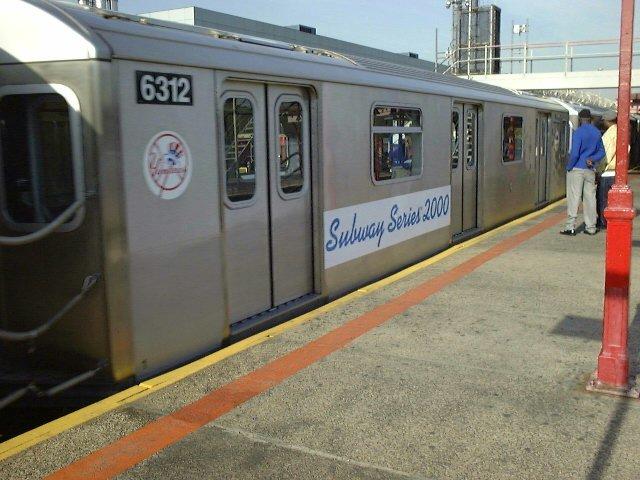 (77k, 640x480)<br><b>Country:</b> United States<br><b>City:</b> New York<br><b>System:</b> New York City Transit<br><b>Line:</b> IRT White Plains Road Line<br><b>Location:</b> East 180th Street <br><b>Car:</b> R-142 (Primary Order, Bombardier, 1999-2002)  6312 <br><b>Photo by:</b> Trevor Logan<br><b>Date:</b> 10/21/2000<br><b>Notes:</b> World Series Special<br><b>Viewed (this week/total):</b> 0 / 6256