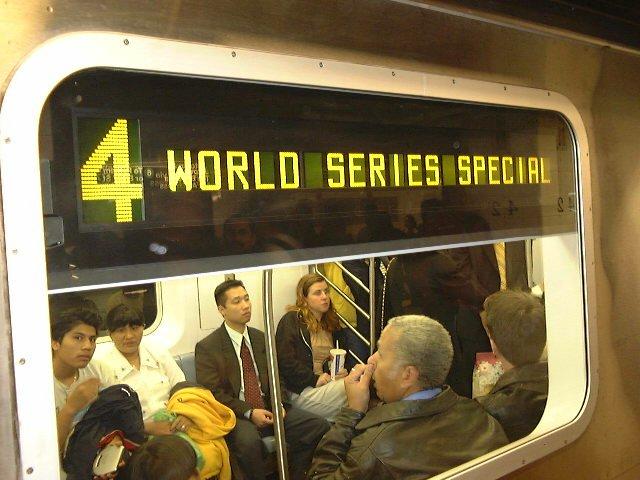 (74k, 640x480)<br><b>Country:</b> United States<br><b>City:</b> New York<br><b>System:</b> New York City Transit<br><b>Line:</b> IRT East Side Line<br><b>Location:</b> Grand Central <br><b>Route:</b> 4<br><b>Car:</b> R-142 (Primary Order, Bombardier, 1999-2002)  6312 <br><b>Photo by:</b> Trevor Logan<br><b>Date:</b> 10/21/2000<br><b>Notes:</b> World Series Special<br><b>Viewed (this week/total):</b> 0 / 9025