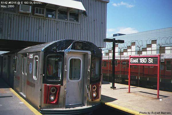 (65k, 600x400)<br><b>Country:</b> United States<br><b>City:</b> New York<br><b>System:</b> New York City Transit<br><b>Line:</b> IRT White Plains Road Line<br><b>Location:</b> East 180th Street <br><b>Car:</b> R-142 (Primary Order, Bombardier, 1999-2002)  6315 <br><b>Photo by:</b> Robert Marrero<br><b>Date:</b> 5/2000<br><b>Viewed (this week/total):</b> 4 / 5733
