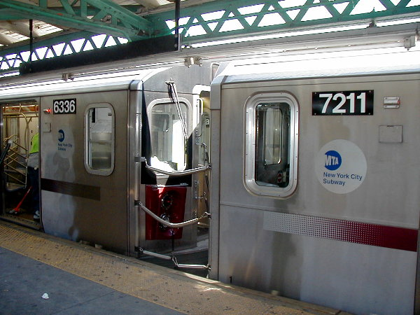 (80k, 600x450)<br><b>Country:</b> United States<br><b>City:</b> New York<br><b>System:</b> New York City Transit<br><b>Line:</b> IRT Pelham Line<br><b>Location:</b> Pelham Bay Park <br><b>Car:</b> R-142 (Primary Order, Bombardier, 1999-2002)  6336 <br><b>Photo by:</b> Trevor Logan<br><b>Date:</b> 7/2001<br><b>Notes:</b> R142/R142A interoperability test; 6336 coupled to 7211<br><b>Viewed (this week/total):</b> 6 / 9123