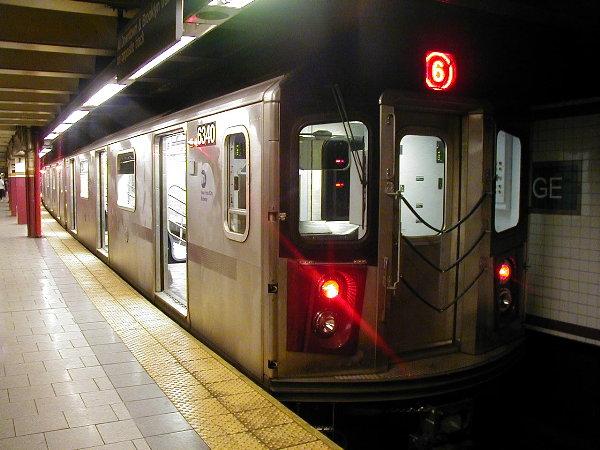 (77k, 600x450)<br><b>Country:</b> United States<br><b>City:</b> New York<br><b>System:</b> New York City Transit<br><b>Line:</b> IRT East Side Line<br><b>Location:</b> Brooklyn Bridge/City Hall <br><b>Route:</b> 6<br><b>Car:</b> R-142 (Primary Order, Bombardier, 1999-2002)  6340 <br><b>Photo by:</b> Trevor Logan<br><b>Date:</b> 7/2001<br><b>Viewed (this week/total):</b> 2 / 23804