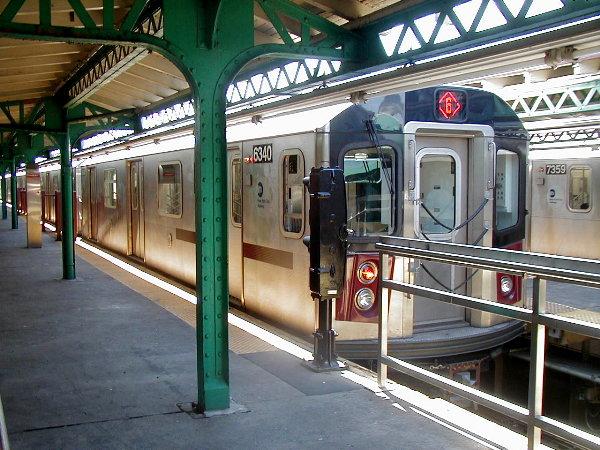 (100k, 600x450)<br><b>Country:</b> United States<br><b>City:</b> New York<br><b>System:</b> New York City Transit<br><b>Line:</b> IRT Pelham Line<br><b>Location:</b> Pelham Bay Park <br><b>Route:</b> 6<br><b>Car:</b> R-142 (Primary Order, Bombardier, 1999-2002)  6340 <br><b>Photo by:</b> Trevor Logan<br><b>Date:</b> 7/2001<br><b>Viewed (this week/total):</b> 1 / 8187