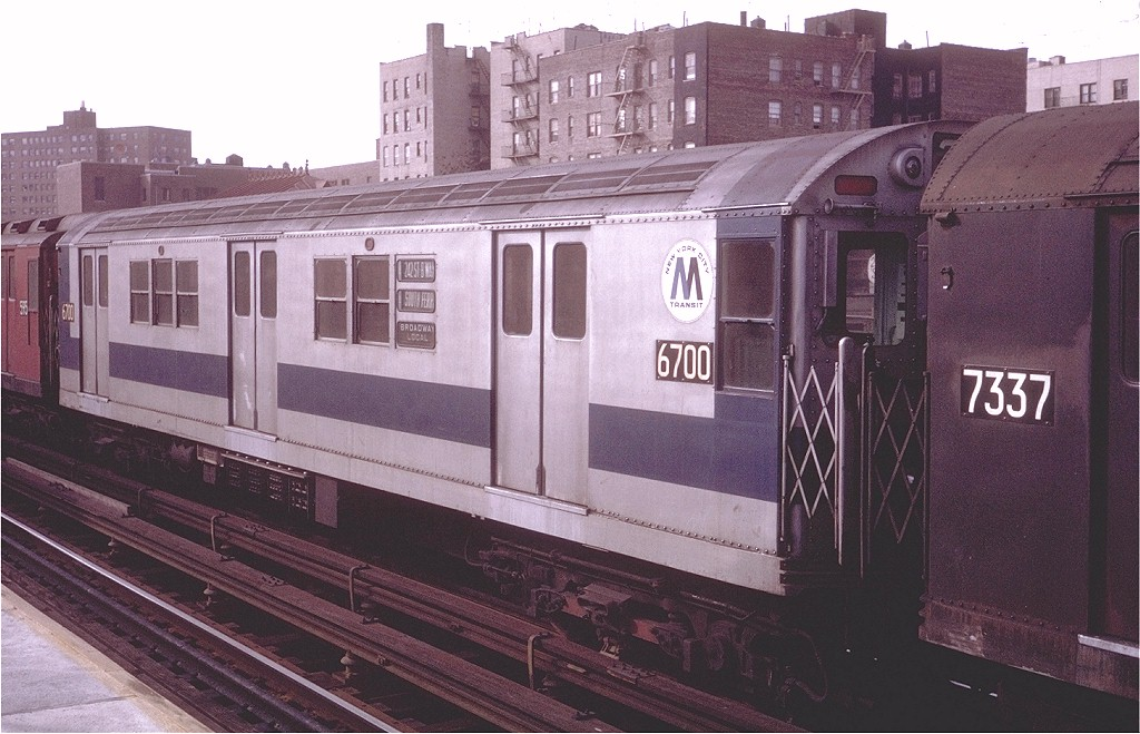 (196k, 1024x659)<br><b>Country:</b> United States<br><b>City:</b> New York<br><b>System:</b> New York City Transit<br><b>Line:</b> IRT West Side Line<br><b>Location:</b> 231st Street<br><b>Route:</b> 1<br><b>Car:</b> R-17 (St. Louis, 1955-56) 6700 <br><b>Photo by:</b> Steve Zabel<br><b>Collection of:</b> Joe Testagrose<br><b>Date:</b> 11/22/1970<br><b>Viewed (this week/total):</b> 6 / 3002