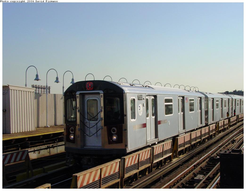 (104k, 1044x812)<br><b>Country:</b> United States<br><b>City:</b> New York<br><b>System:</b> New York City Transit<br><b>Line:</b> IRT White Plains Road Line<br><b>Location:</b> West Farms Sq./East Tremont Ave./177th St. <br><b>Route:</b> 5<br><b>Car:</b> R-142 (Option Order, Bombardier, 2002-2003)  7000 <br><b>Photo by:</b> David Pirmann<br><b>Date:</b> 8/21/2002<br><b>Viewed (this week/total):</b> 3 / 5519