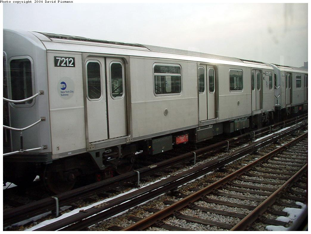 (116k, 1044x788)<br><b>Country:</b> United States<br><b>City:</b> New York<br><b>System:</b> New York City Transit<br><b>Location:</b> Unionport Yard<br><b>Car:</b> R-142A (Primary Order, Kawasaki, 1999-2002)  7212 <br><b>Photo by:</b> David Pirmann<br><b>Date:</b> 1/14/2001<br><b>Viewed (this week/total):</b> 3 / 3458