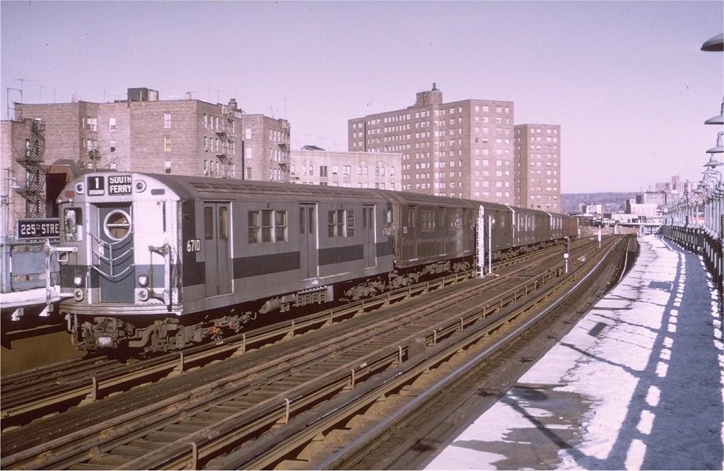 (203k, 1024x666)<br><b>Country:</b> United States<br><b>City:</b> New York<br><b>System:</b> New York City Transit<br><b>Line:</b> IRT West Side Line<br><b>Location:</b> 225th Street <br><b>Route:</b> 1<br><b>Car:</b> R-17 (St. Louis, 1955-56) 6710 <br><b>Photo by:</b> Joe Testagrose<br><b>Date:</b> 1/3/1971<br><b>Viewed (this week/total):</b> 0 / 2934