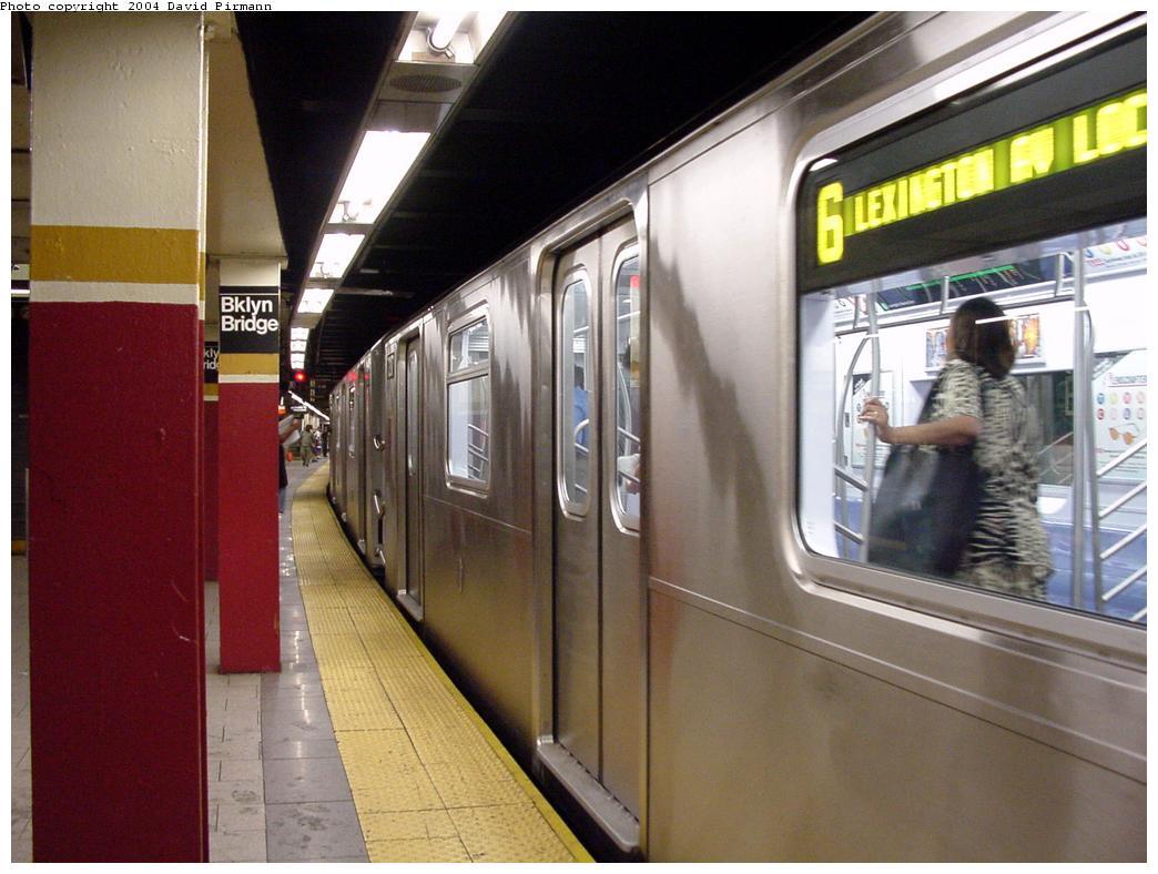 (119k, 1044x788)<br><b>Country:</b> United States<br><b>City:</b> New York<br><b>System:</b> New York City Transit<br><b>Line:</b> IRT East Side Line<br><b>Location:</b> Brooklyn Bridge/City Hall <br><b>Route:</b> 6<br><b>Car:</b> R-142A (Primary Order, Kawasaki, 1999-2002)  7217 <br><b>Photo by:</b> David Pirmann<br><b>Date:</b> 7/11/2000<br><b>Viewed (this week/total):</b> 0 / 5876