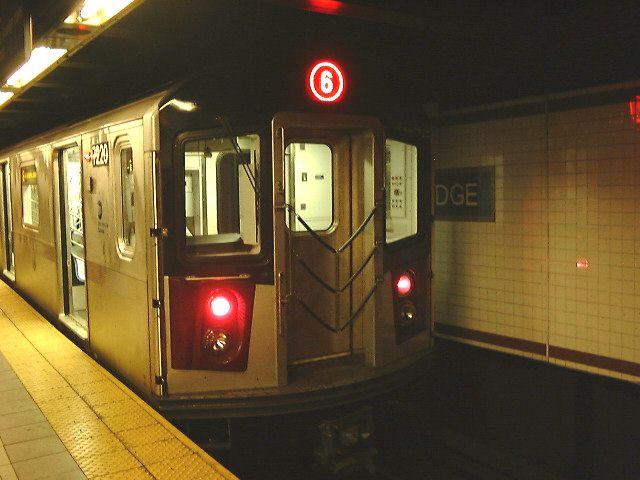 (60k, 640x480)<br><b>Country:</b> United States<br><b>City:</b> New York<br><b>System:</b> New York City Transit<br><b>Line:</b> IRT East Side Line<br><b>Location:</b> Brooklyn Bridge/City Hall <br><b>Route:</b> 6<br><b>Car:</b> R-142A (Primary Order, Kawasaki, 1999-2002)  7220 <br><b>Photo by:</b> Trevor Logan<br><b>Date:</b> 2001<br><b>Viewed (this week/total):</b> 4 / 5520