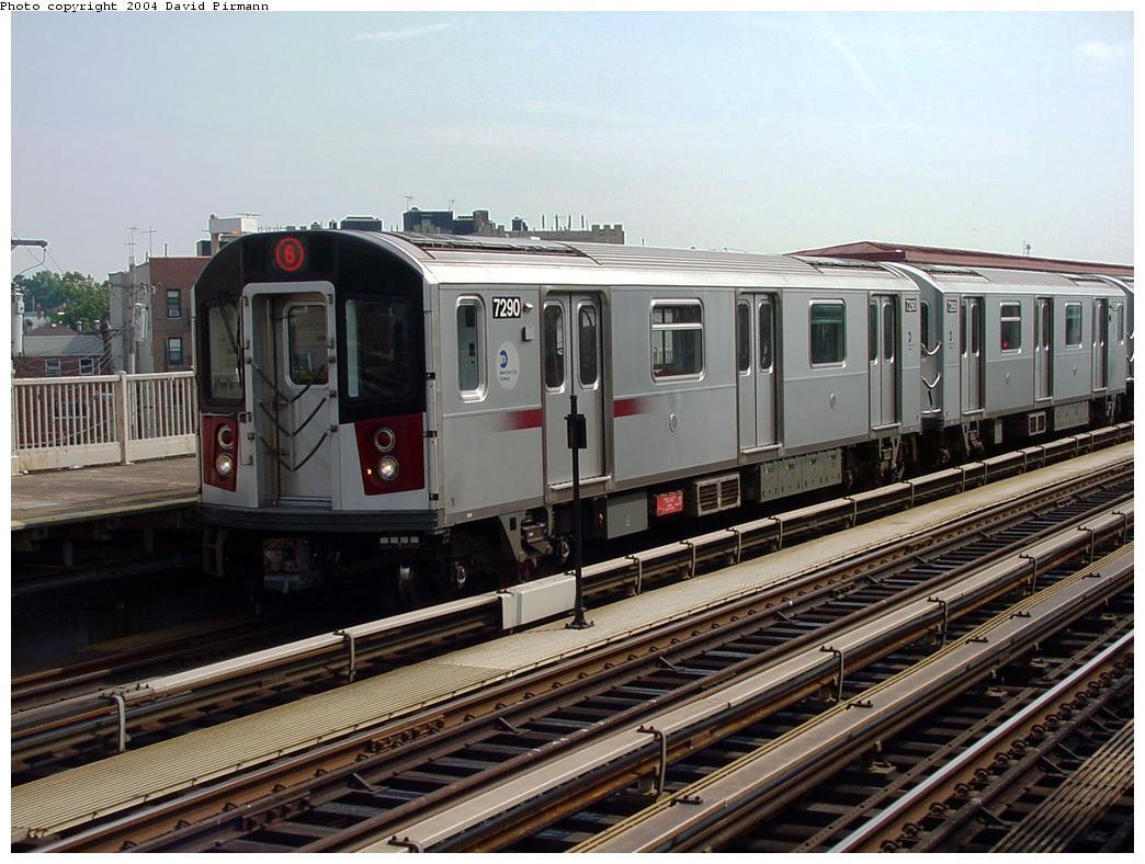 (140k, 1044x788)<br><b>Country:</b> United States<br><b>City:</b> New York<br><b>System:</b> New York City Transit<br><b>Line:</b> IRT Pelham Line<br><b>Location:</b> Middletown Road <br><b>Route:</b> 6<br><b>Car:</b> R-142A (Primary Order, Kawasaki, 1999-2002)  7290 <br><b>Photo by:</b> David Pirmann<br><b>Date:</b> 7/4/2001<br><b>Viewed (this week/total):</b> 1 / 4375