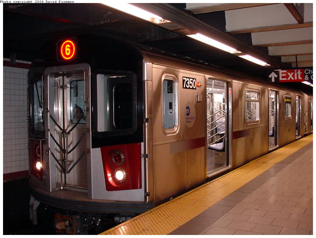 (123k, 1044x788)<br><b>Country:</b> United States<br><b>City:</b> New York<br><b>System:</b> New York City Transit<br><b>Line:</b> IRT East Side Line<br><b>Location:</b> Brooklyn Bridge/City Hall <br><b>Route:</b> 6<br><b>Car:</b> R-142A (Primary Order, Kawasaki, 1999-2002)  7350 <br><b>Photo by:</b> David Pirmann<br><b>Date:</b> 7/4/2001<br><b>Viewed (this week/total):</b> 4 / 7583
