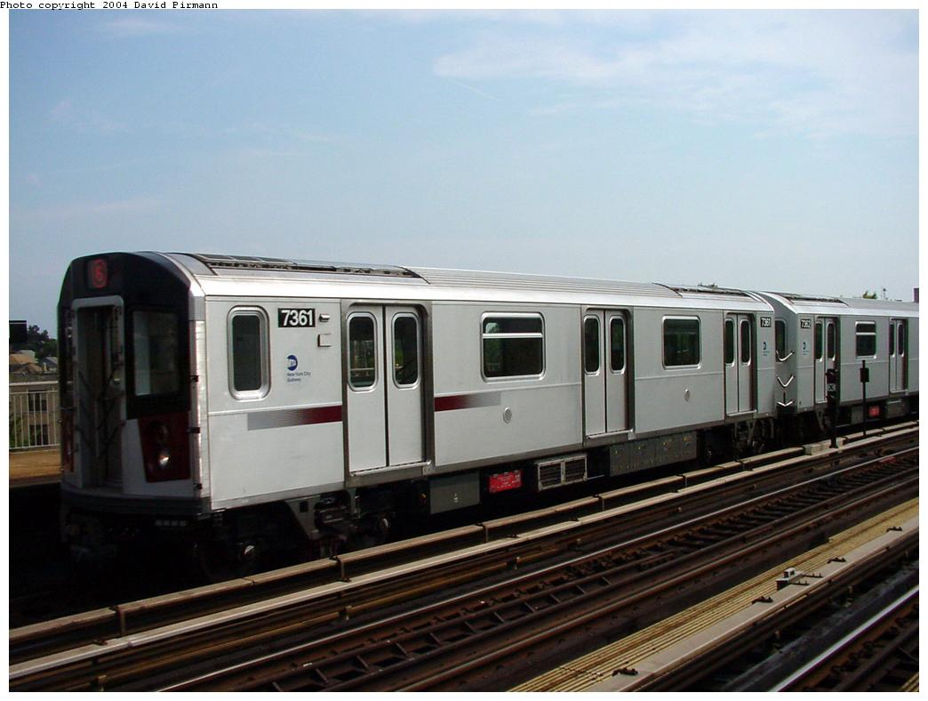 (101k, 1044x788)<br><b>Country:</b> United States<br><b>City:</b> New York<br><b>System:</b> New York City Transit<br><b>Line:</b> IRT Pelham Line<br><b>Location:</b> Middletown Road <br><b>Route:</b> 6<br><b>Car:</b> R-142A (Primary Order, Kawasaki, 1999-2002)  7361 <br><b>Photo by:</b> David Pirmann<br><b>Date:</b> 7/4/2001<br><b>Viewed (this week/total):</b> 0 / 3666