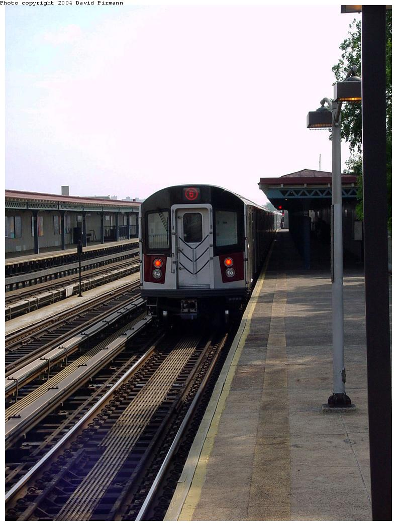 (126k, 790x1047)<br><b>Country:</b> United States<br><b>City:</b> New York<br><b>System:</b> New York City Transit<br><b>Line:</b> IRT Pelham Line<br><b>Location:</b> Middletown Road <br><b>Route:</b> 6<br><b>Car:</b> R-142A (Primary Order, Kawasaki, 1999-2002)  7361 <br><b>Photo by:</b> David Pirmann<br><b>Date:</b> 7/4/2001<br><b>Viewed (this week/total):</b> 0 / 3520